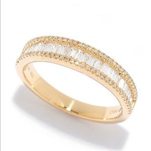 💍14 KT Diamond Baguette Band .38 ct Sz 8